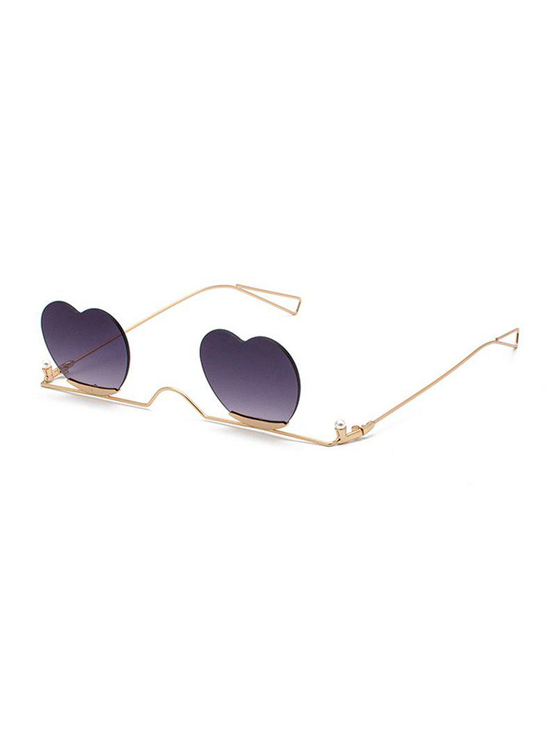 Buy Metal Heart Lens Gradient Rimless Sunglasses