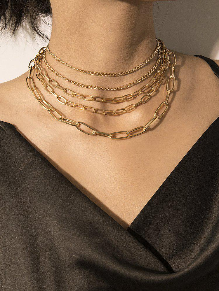 Latest Brief Multilayered Link Chain Necklace