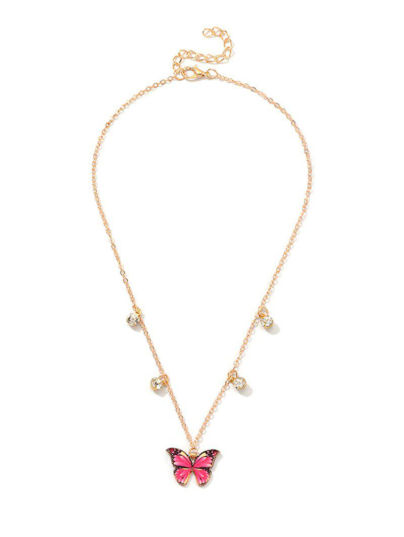 Cheap Rhinestone Butterfly Pendant Metal Necklace