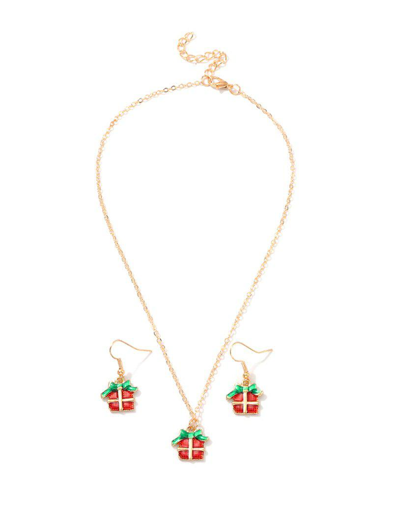 Best Christmas Pattern Pendant Necklace and Hook Earrings