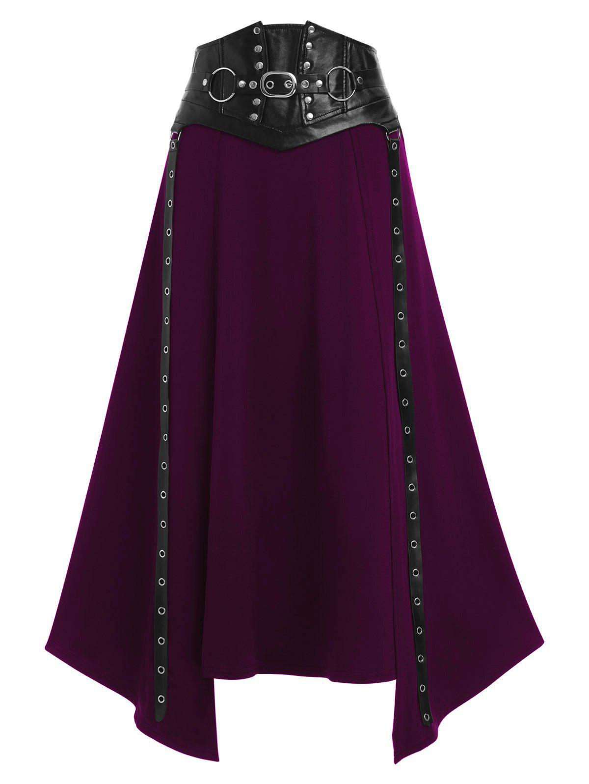 Hot Faux Leather Buckle Strap Rivet Embellished Lace-up Asymmetric Gothic Skirt