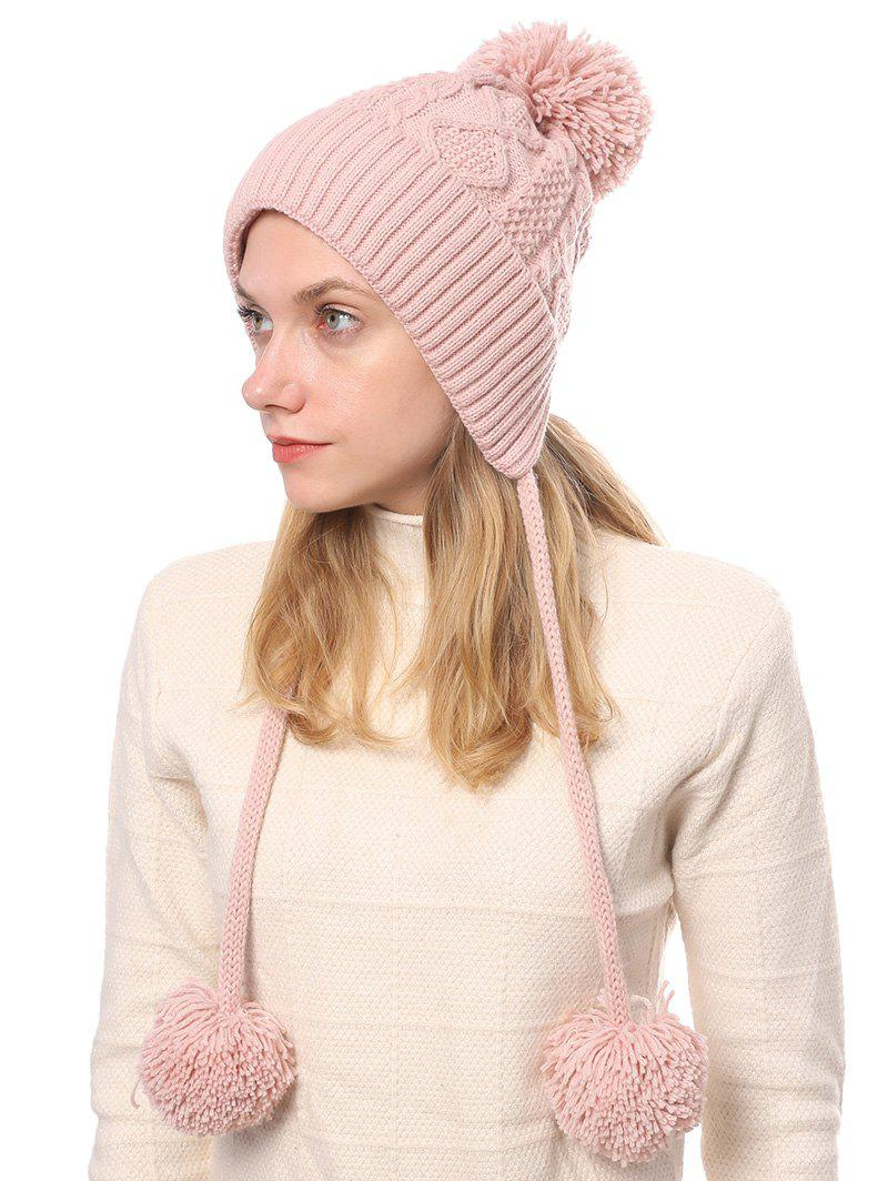 Cheap Fuzzy Ball Cable Knit Solid Sweater Cap