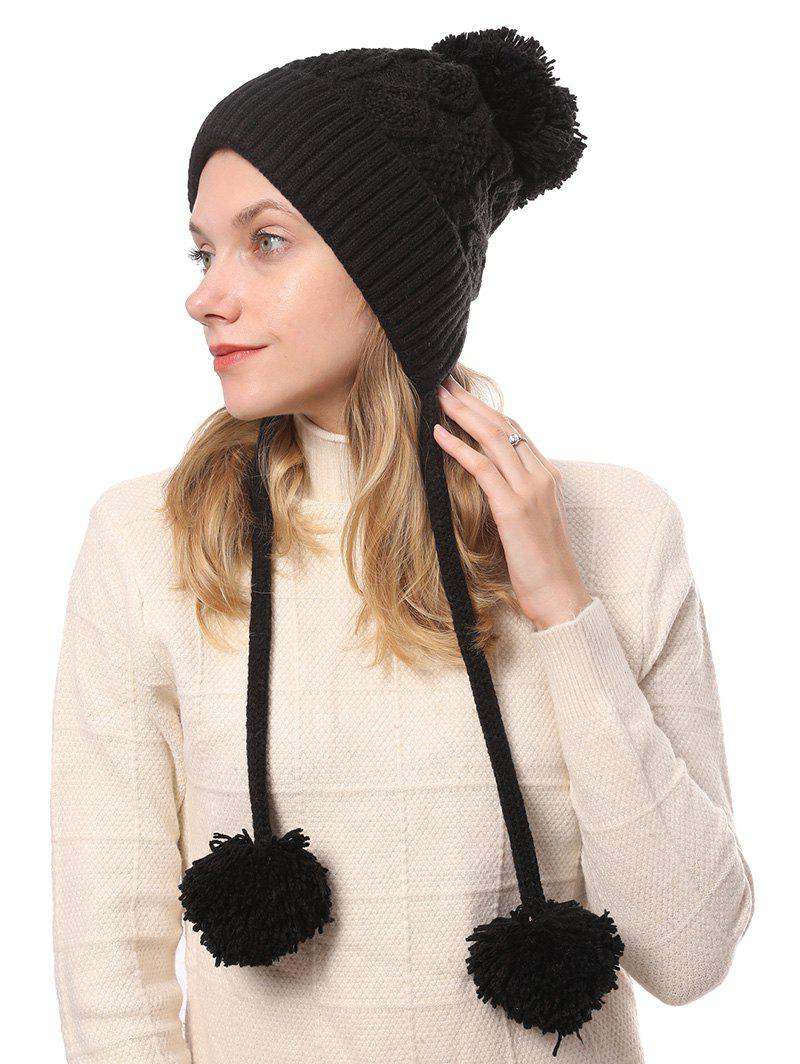 Buy Fuzzy Ball Cable Knit Solid Sweater Cap