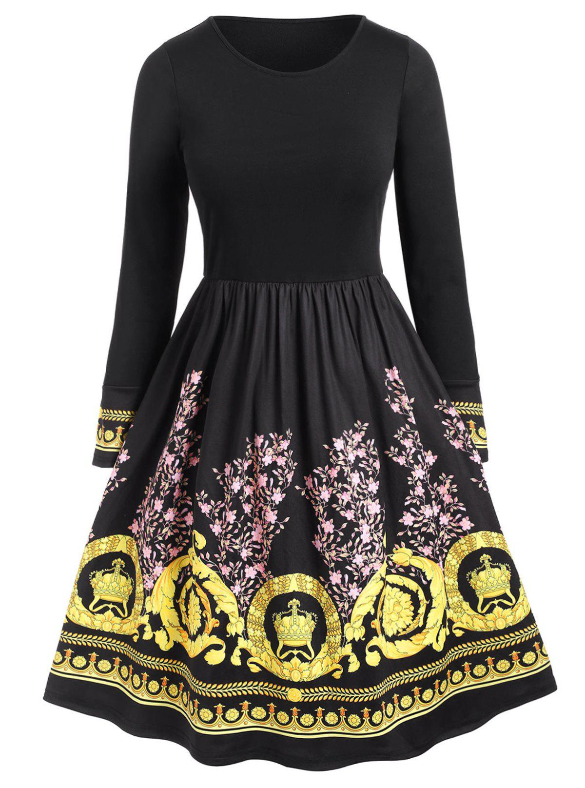 Buy Plus Size Floral Ethnic Print Flare Dress