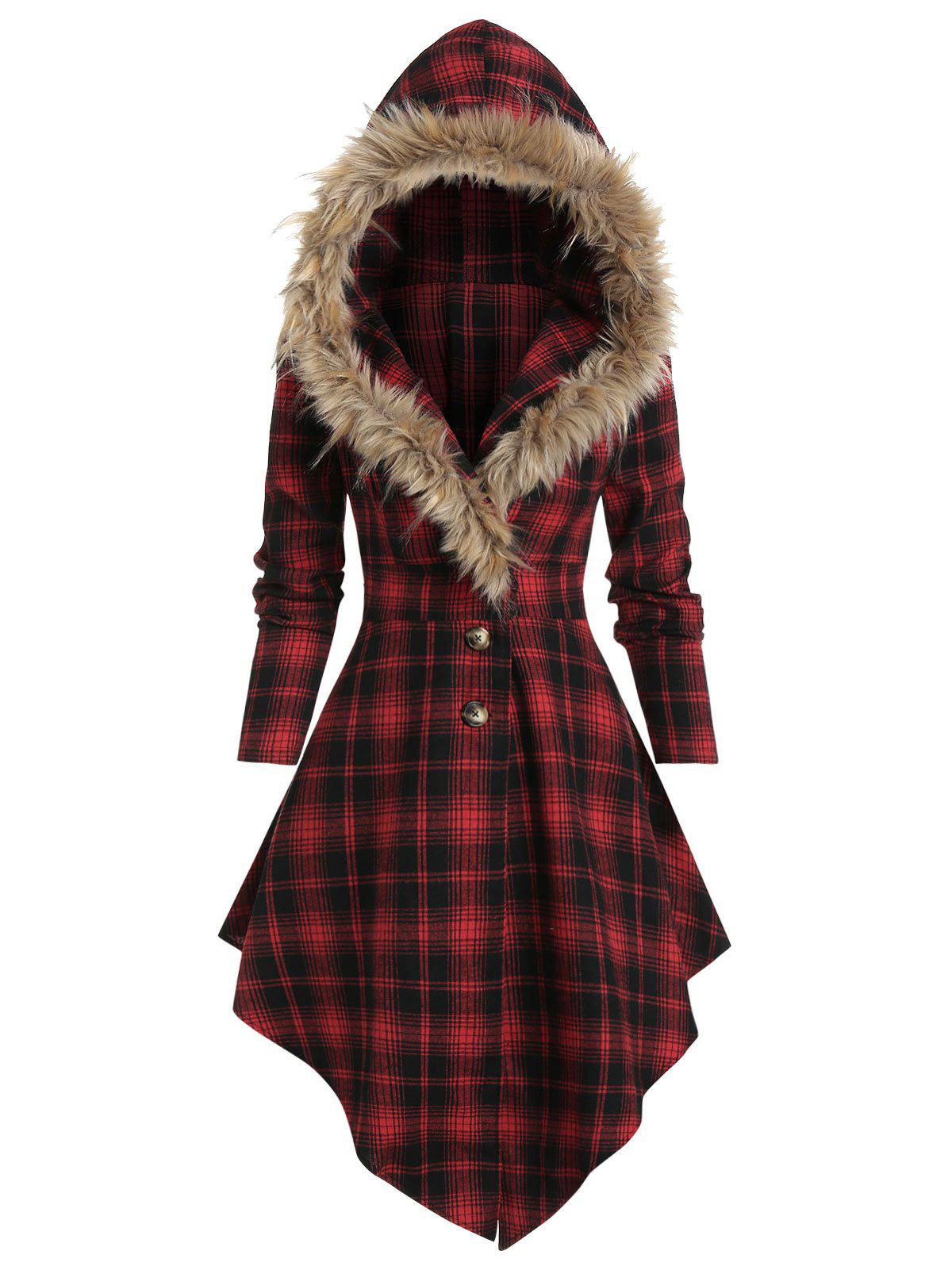 Trendy Plaid Print Lace-up Skirted Coat with Faux Fur Hood