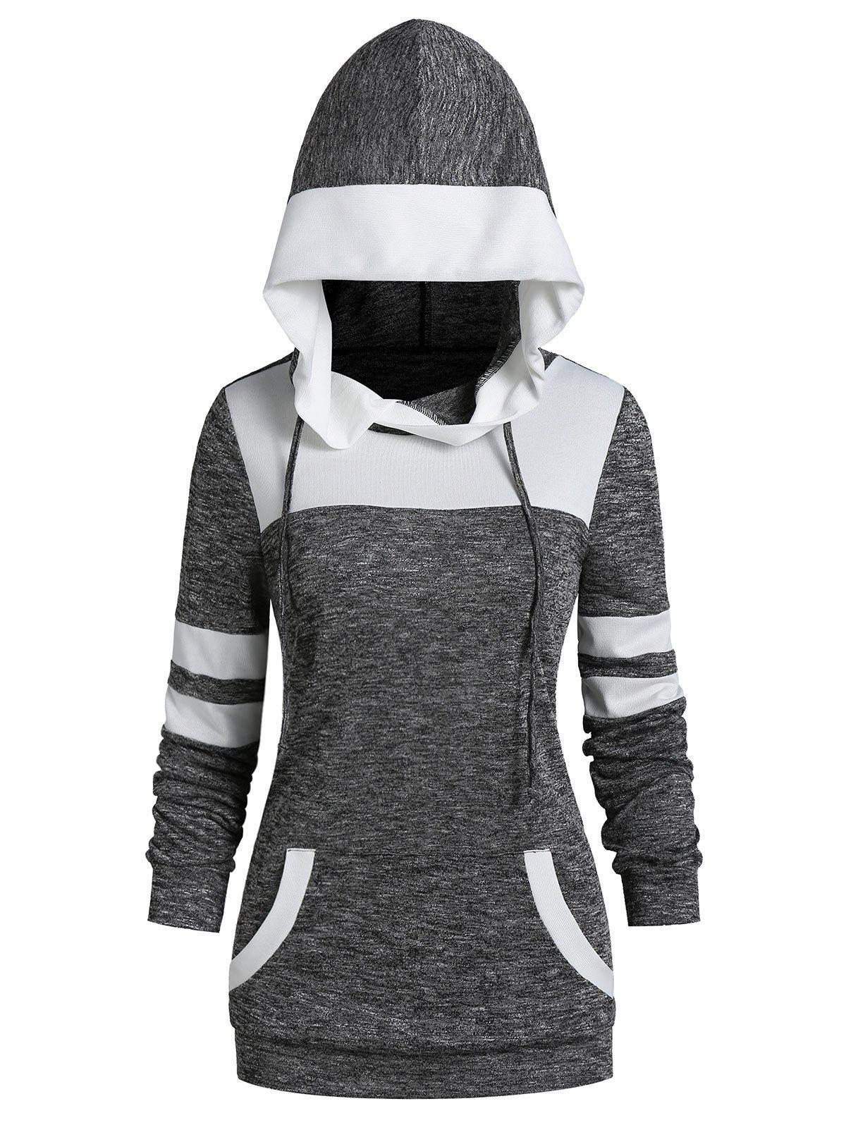 Unique Contrast Trim Front Pocket Heather Hoodie