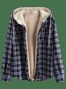 Plaid Chest Pocket Fleece Hooded Jacket -