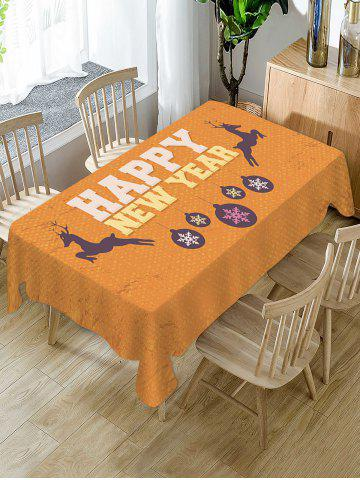Happy New Year Deer Fabric Waterproof Table Cloth - TIGER ORANGE - W60 X L84 INCH