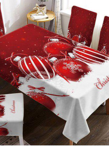 Christmas Ball Snow Digital Print Fabric Tablecloth