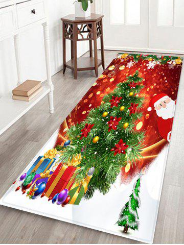 Santa Claus Christmas Tree Pattern Floor Rug - MULTI - W24 X L71 INCH