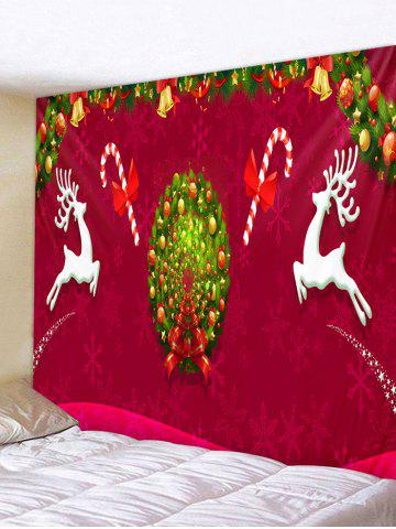 Christmas Wreath Deer Print Tapestry Wall Hanging Art Decoration - MULTI - W91 X L71 INCH