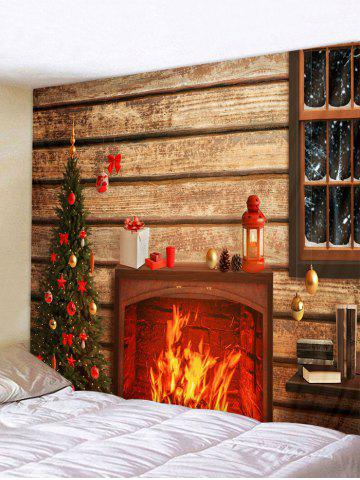 Christmas Tree Fireplace Wooden House Print Tapestry Wall Hanging Art Decoration