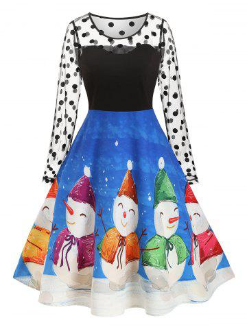 Plus Size Flocking Swiss Dot Christmas Snowman Dress