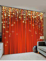 2 Panels Christmas Stars Print Window Curtains -