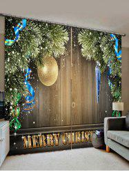2 Panels Christmas Tree Ball Wood Board Print Window Curtains -