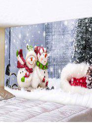 Christmas Tree Snowman Couple Print Tapestry Wall Hanging Art Decoration -