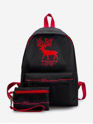 2Pcs Student Canvas Casual Backpack -