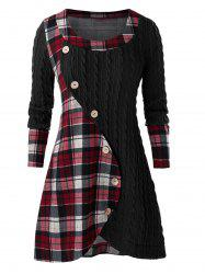 Plus Size Plaid Splicing Button Embellished Sweater -
