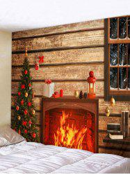 Christmas Tree Fireplace Wooden House Print Tapestry Wall Hanging Art Decoration -