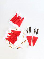 10PCS Christmas Hat Tableware Covers -