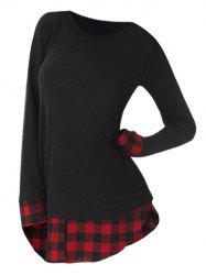 Plus Size Plaid Insérer Slit Longline T-shirt - Rouge L