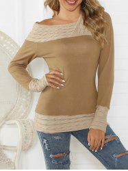 Cable Knit Contrast Long Sleeves Knitwear -