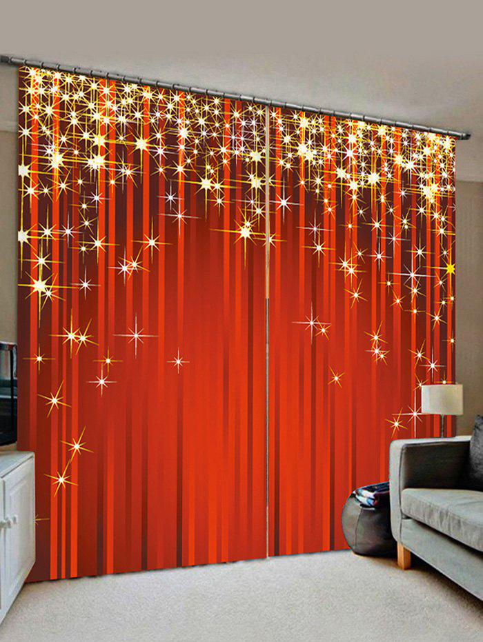 2 Panels Christmas Stars Print Window Curtains фото