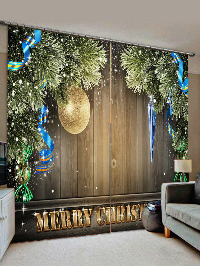 Online 2 Panels Christmas Tree Ball Wood Board Print Window Curtains