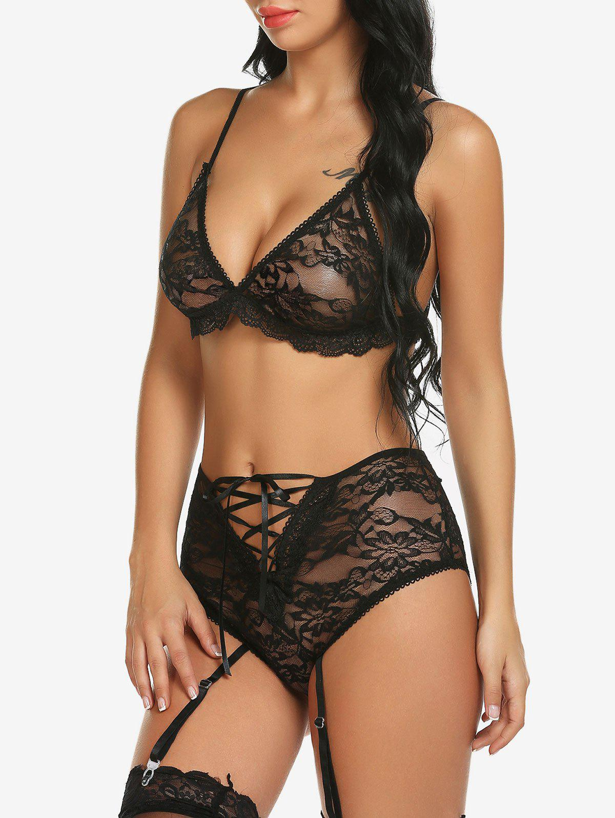 Fashion See Through Lace Garter Bra Set