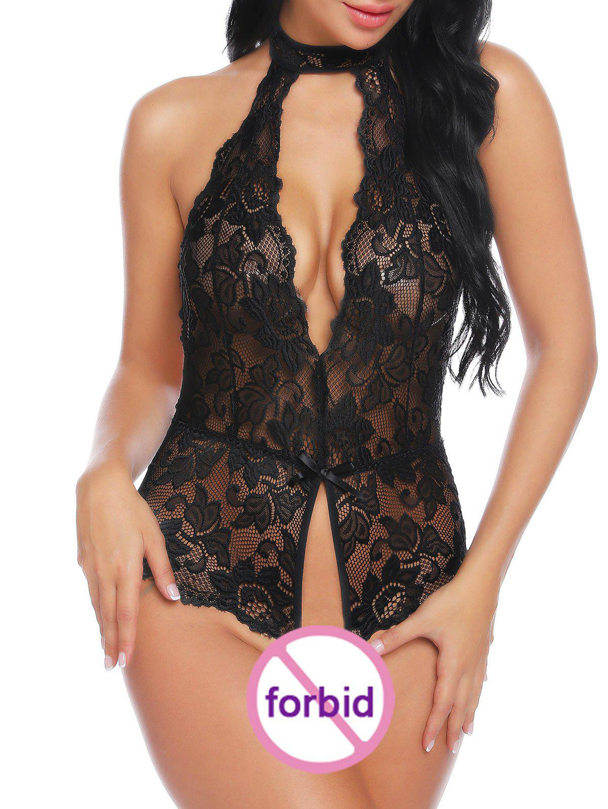 Shops Backless Open Crotch Cut Out Lace Teddy