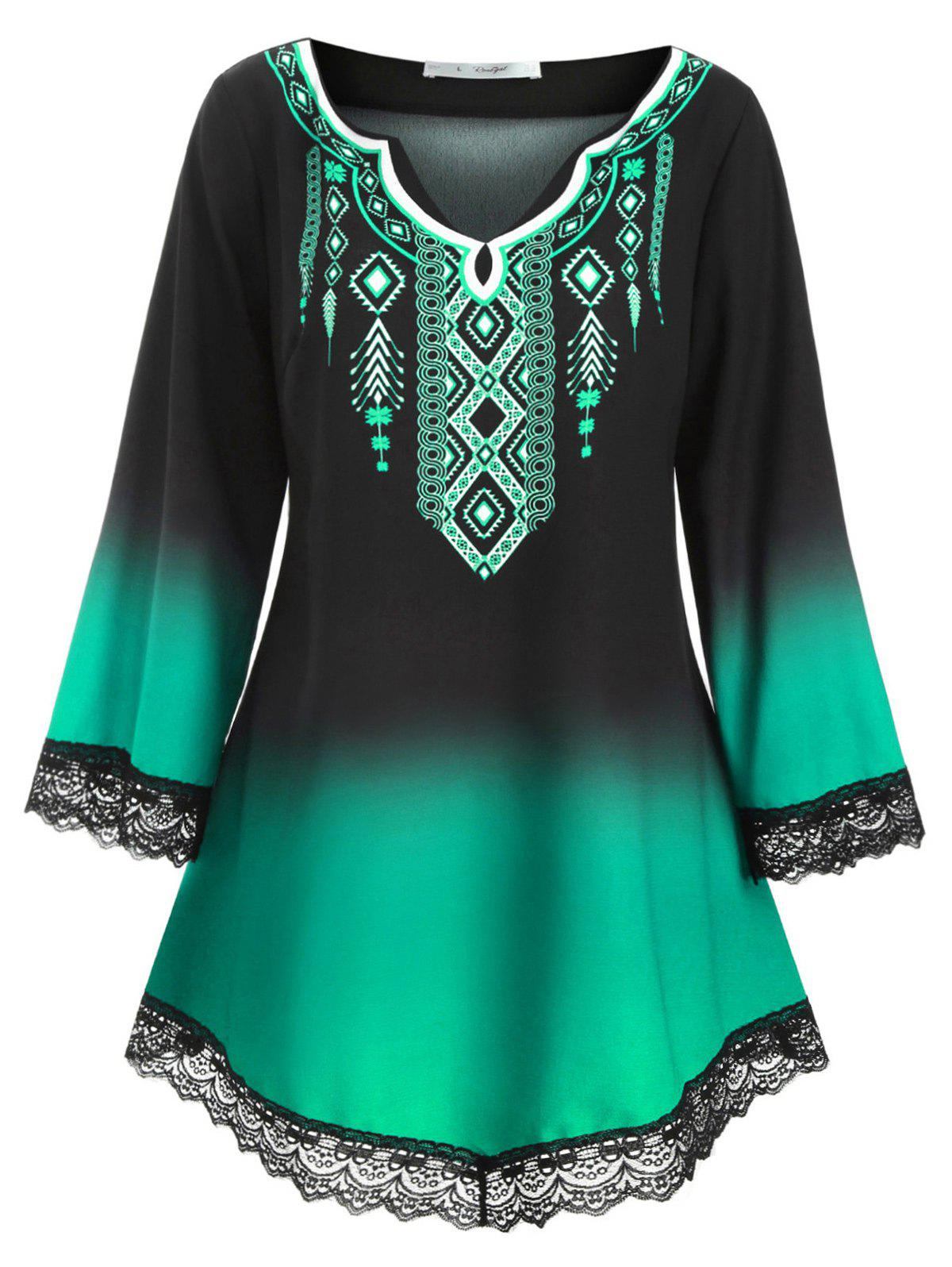 Outfits Longline Printed Scalloped Lace Panel Plus Size Blouse