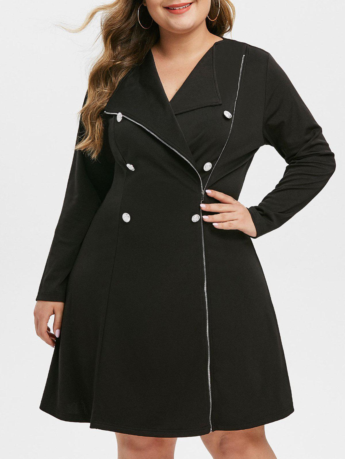 Outfit Plus Size Inclined Zipper Button Embellished Dress