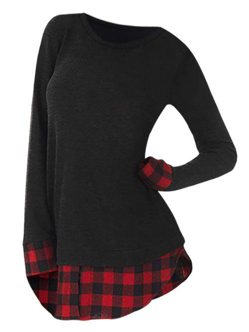 Shop Plus Size Plaid Insert Slit Longline T-shirt