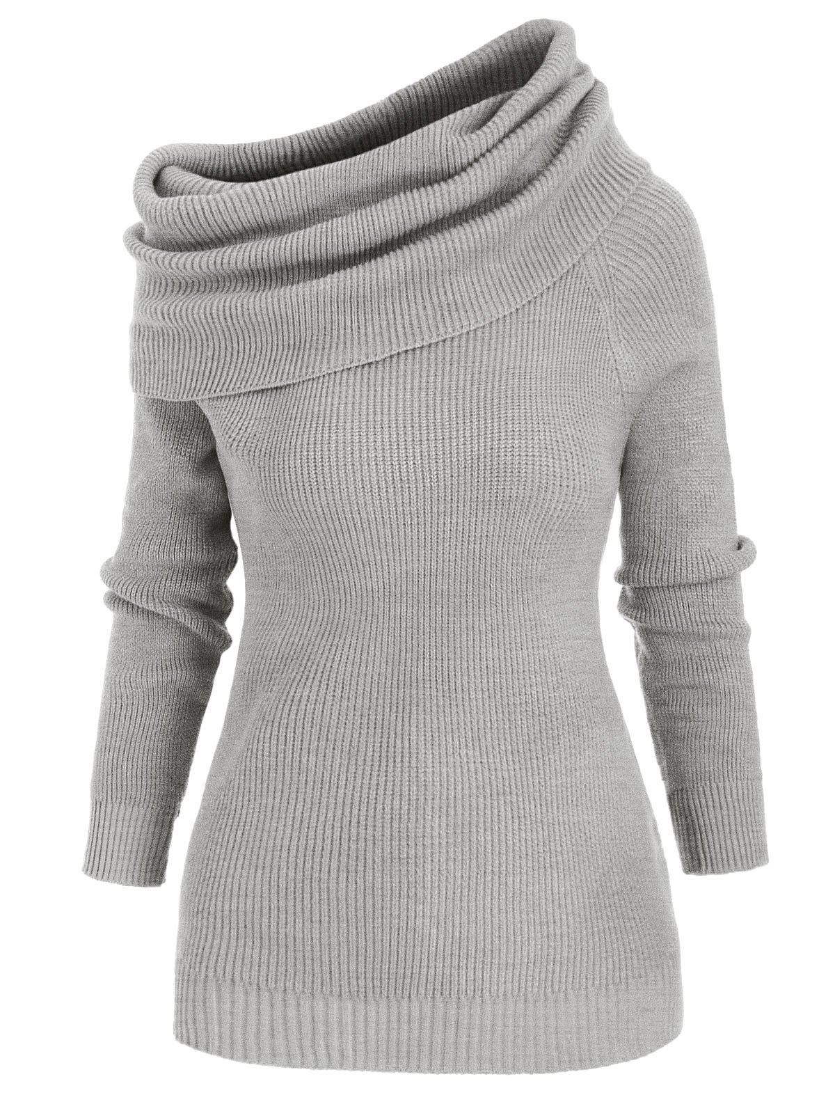 Affordable Convertible Foldover Pullover Sweater