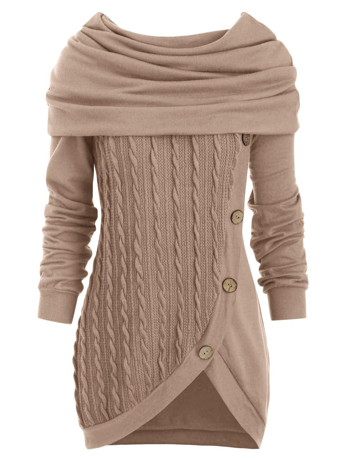 Unique Cowl Neck Cable Knit Tunic Knitwear
