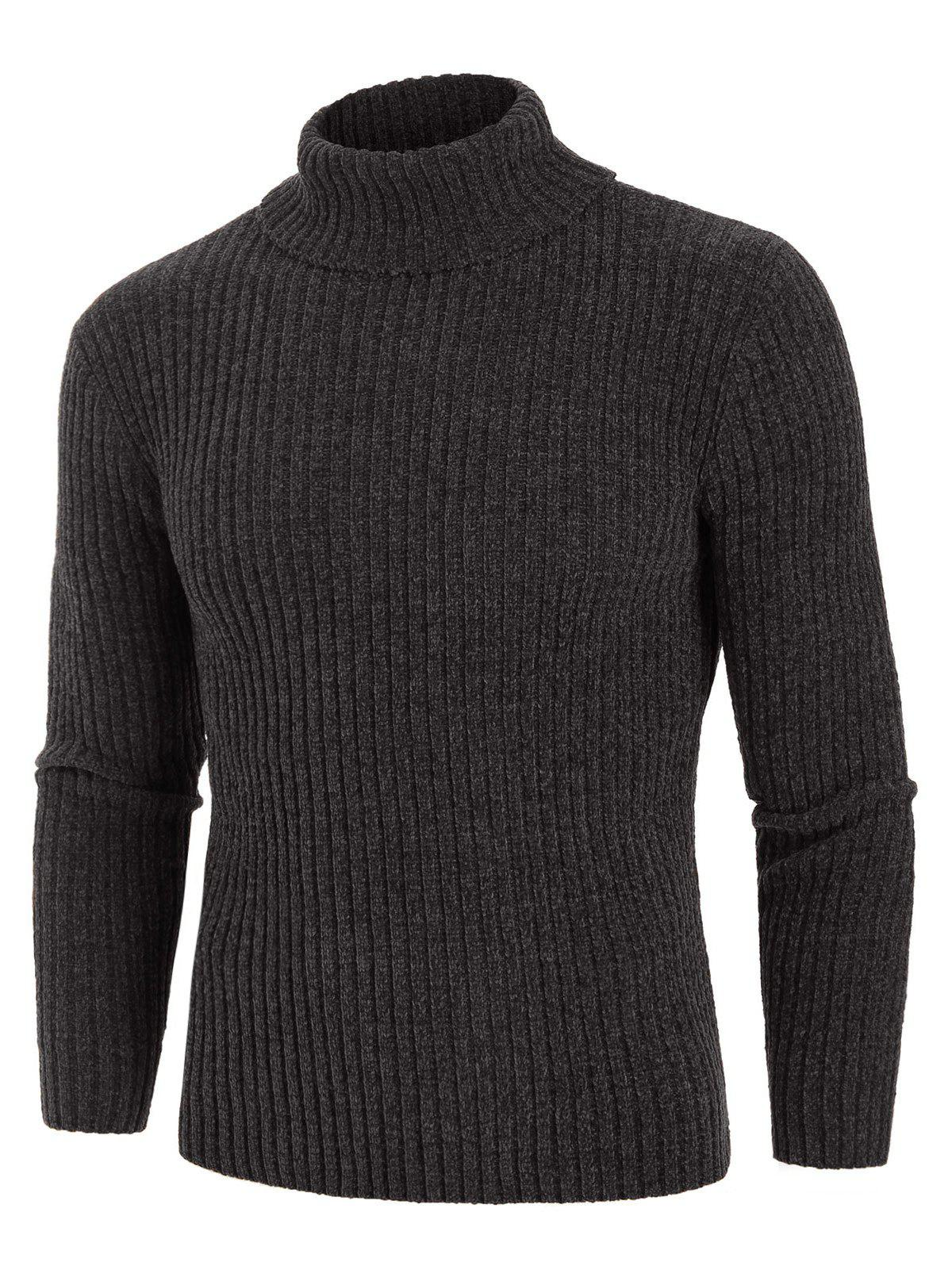 Discount Plain Turtleneck Chenille Long Sleeve Sweater