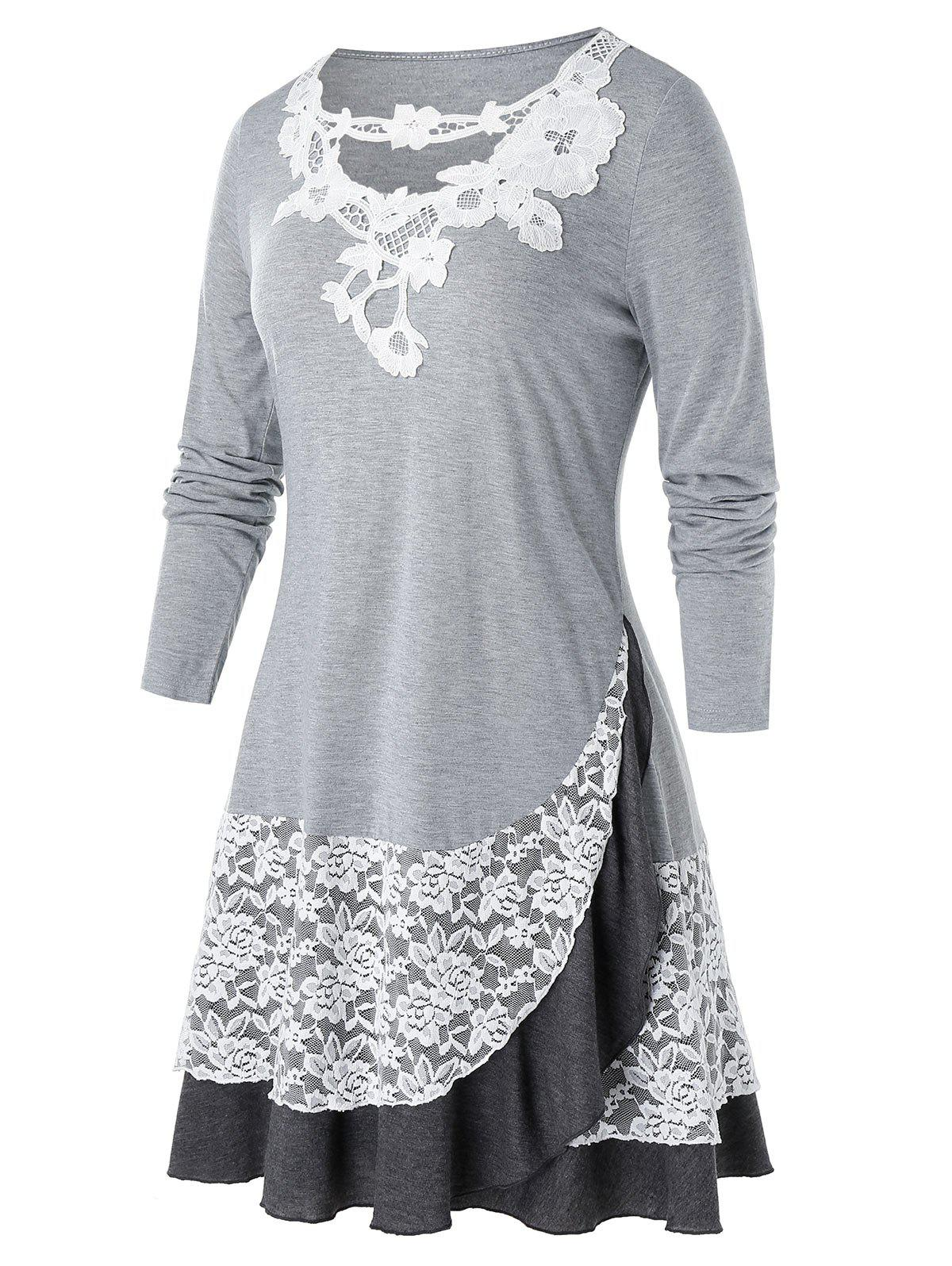 Hot Plus Size Applique Lace Panel Flounce Long Sleeve Tee