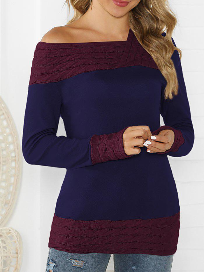 Shop Cable Knit Contrast Long Sleeves Knitwear