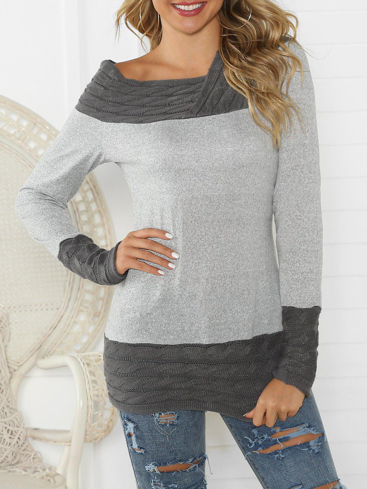 Latest Cable Knit Contrast Long Sleeves Knitwear