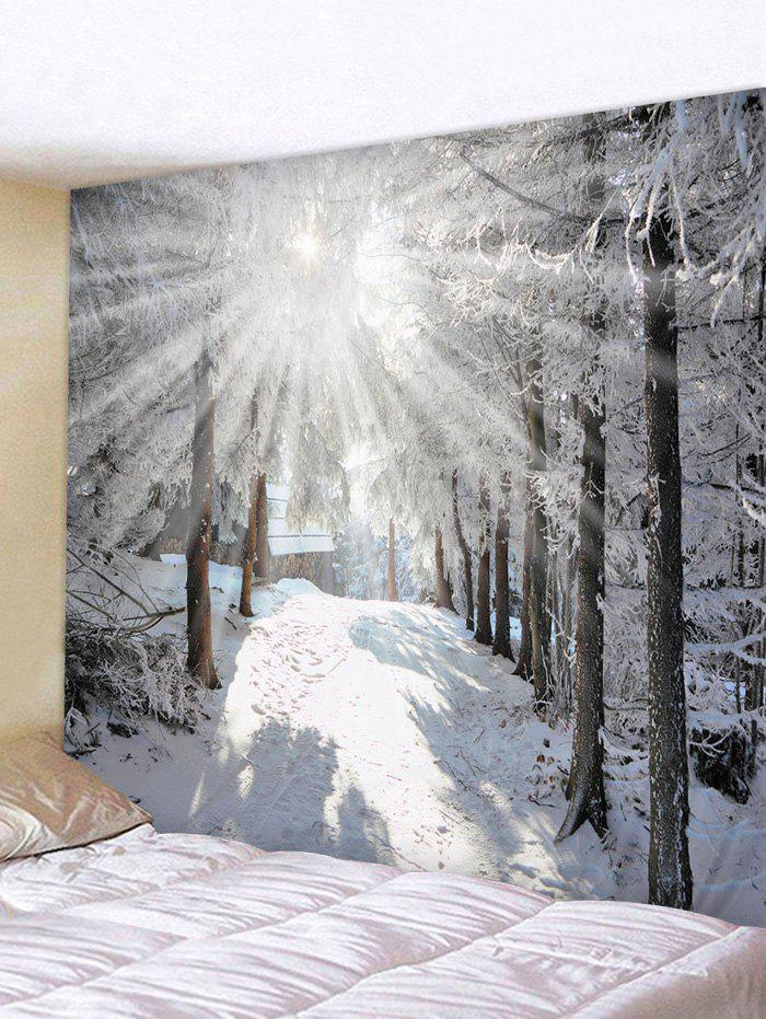 Online Sunshine Snow Forest Printed Tapestry Wall Hanging Art Decoration