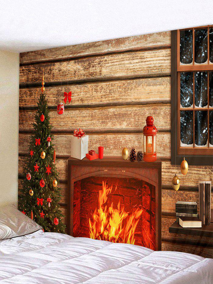Outfits Christmas Tree Fireplace Wooden House Print Tapestry Wall Hanging Art Decoration