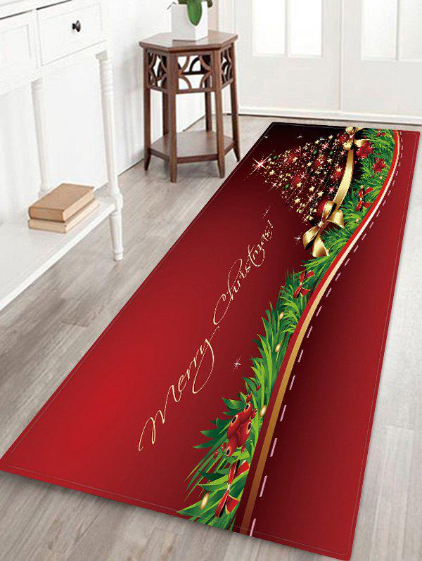 Store Christmas Star Tree Bowknot Pattern Water Absorption Area Rug