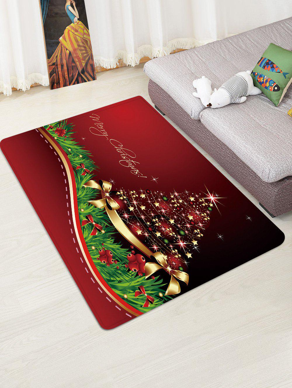 Outfit Christmas Star Tree Bowknot Pattern Water Absorption Area Rug
