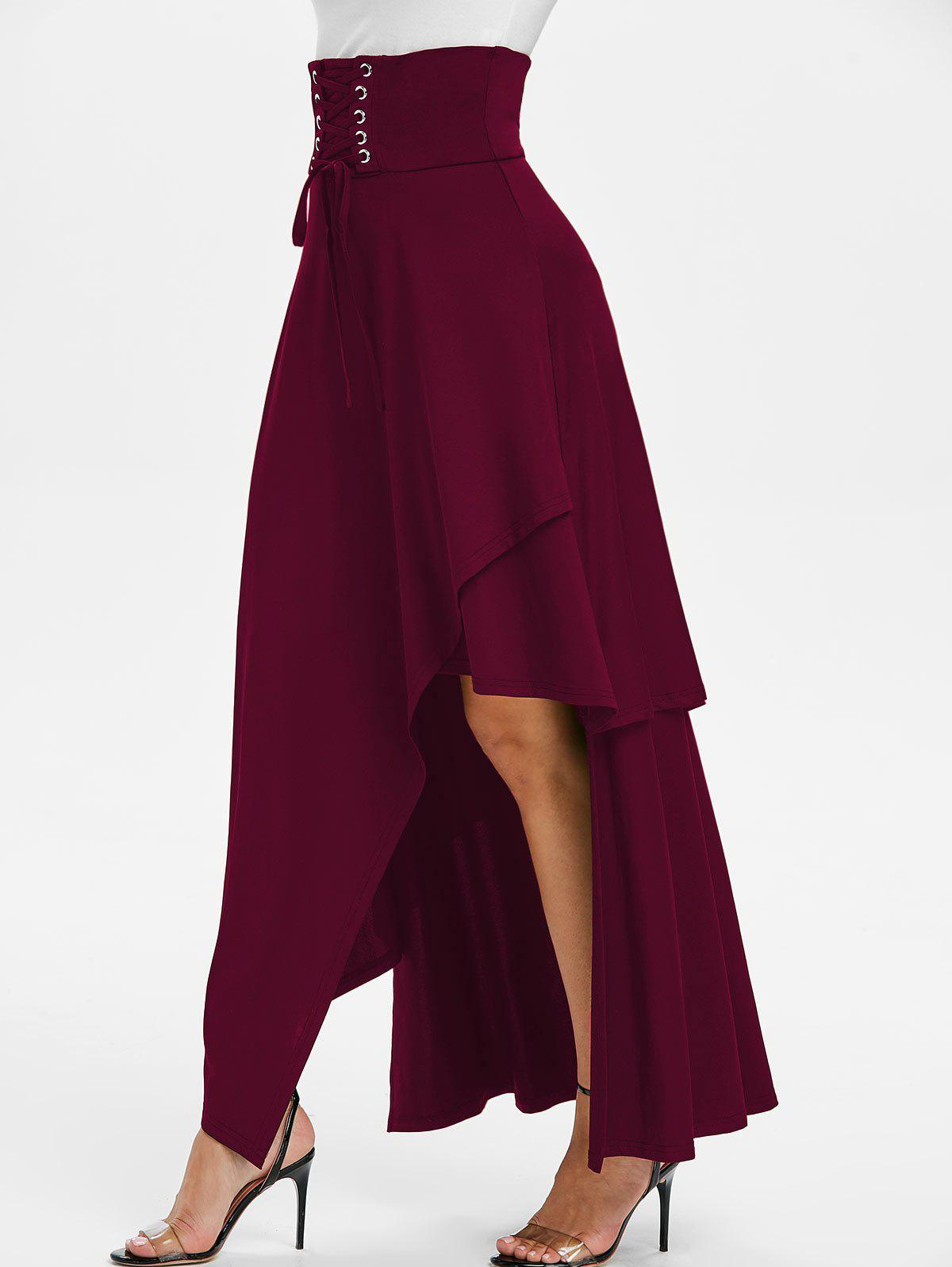 Shop High Waisted Asymmetric Lace-up Layered Maxi Skirt