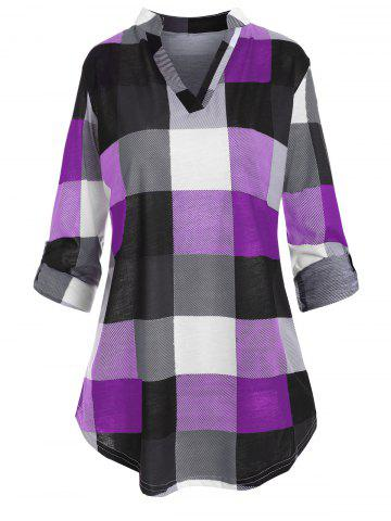 Plus Size Checked Roll Up Sleeve Blouse