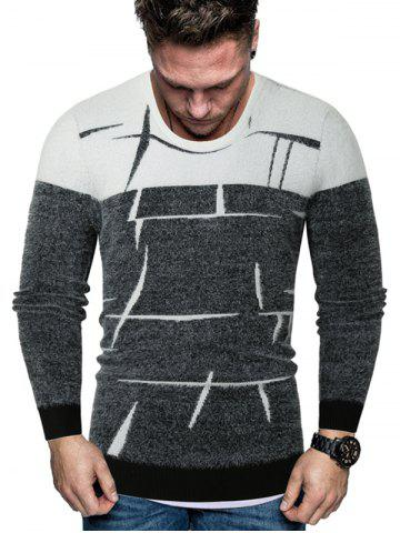 Two Tone Abstract Line Print Fuzzy Sweater