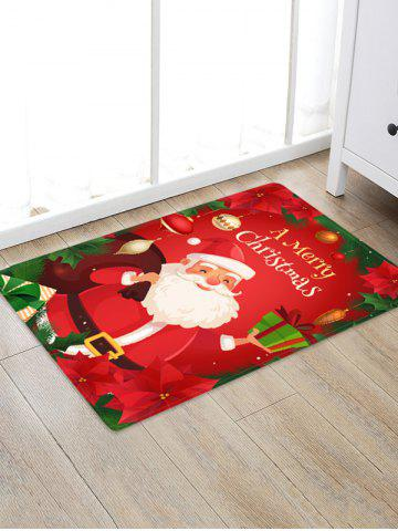 Christmas Flowers Santa Claus Pattern Water Absorption Area Rug - MULTI - W16 X L24 INCH