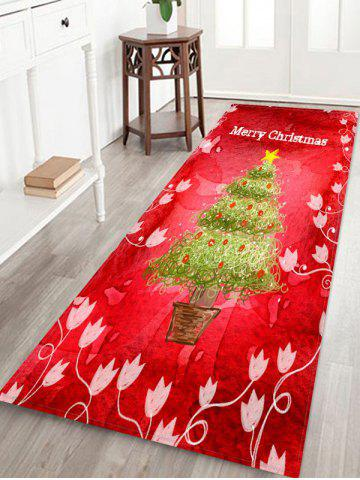 Christmas Tree Flowers Greeting Pattern Water Absorption Area Rug - MULTI - W24 X L71 INCH