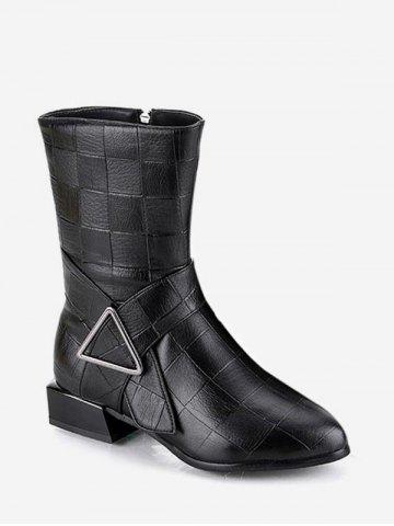 Solid Color Textured Chunky Heel Boots - BLACK - EU 40