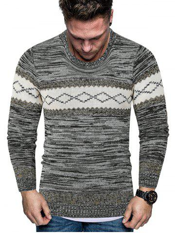Rhombus Graphic Crew Neck Heather Knit Sweater - BLACK - S